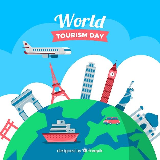 Płaski światowy dzień turystyki tło z zabytków Darmowych Wektorów