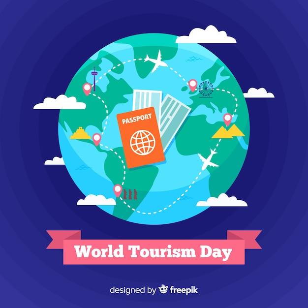 Płaski światowy dzień turystyki z biletami podróżnymi Darmowych Wektorów