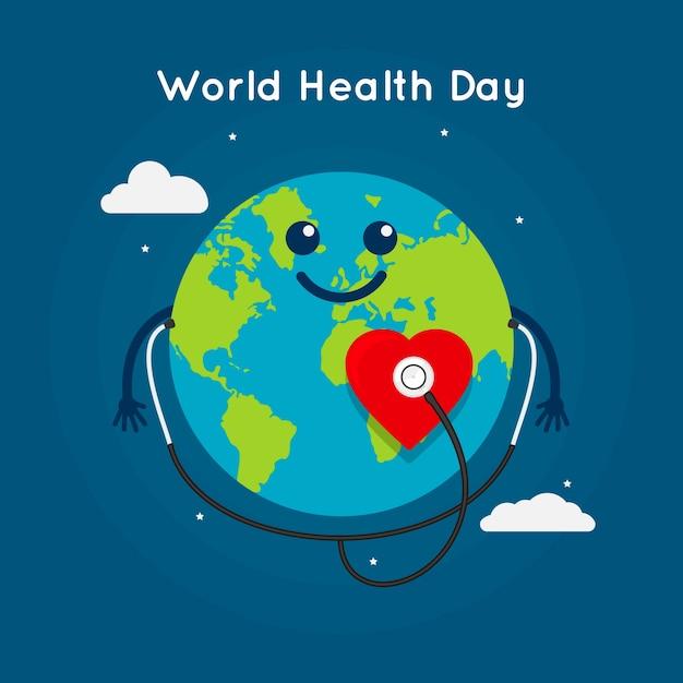 Płaski światowy Dzień Zdrowia Ilustracja Darmowych Wektorów