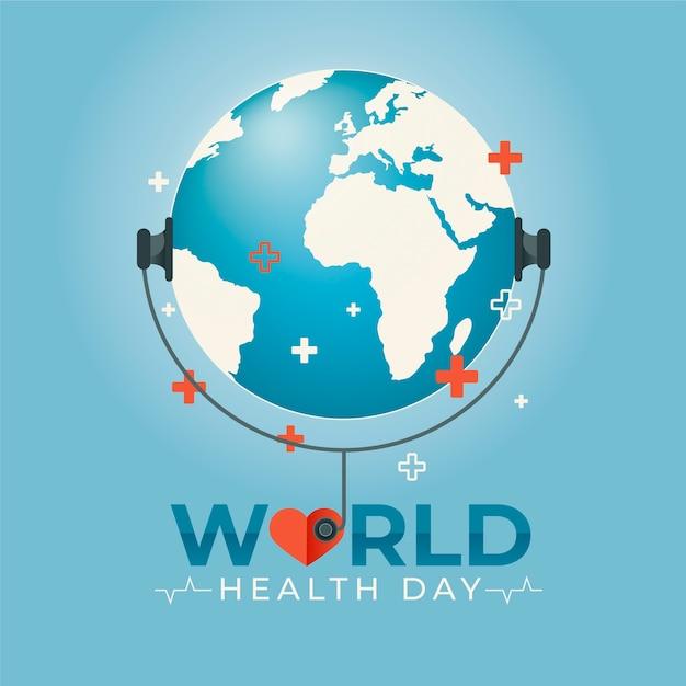 Płaski światowy Dzień Zdrowia Słuchanie Stetoskopu Darmowych Wektorów