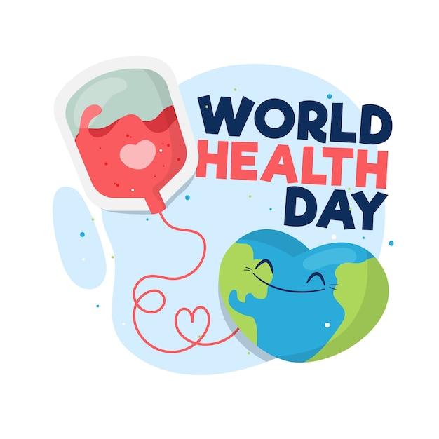 Płaski światowy Dzień Zdrowia Z Transfuzją Krwi Darmowych Wektorów
