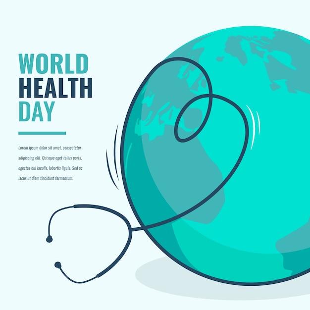Płaski światowy Dzień Zdrowia Darmowych Wektorów