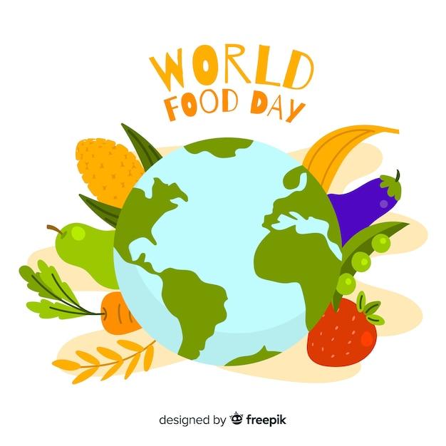 Płaski światowy dzień żywności z eath Darmowych Wektorów