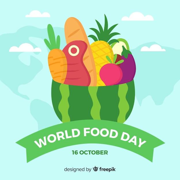 Płaski światowy Dzień żywności Darmowych Wektorów