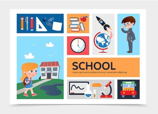 Płaski Szablon Infografiki Edukacji Darmowych Wektorów