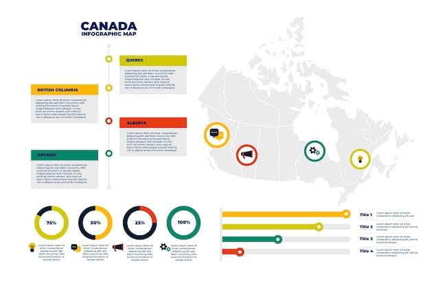 Płaski Szablon Infographic Mapy Kanady Darmowych Wektorów