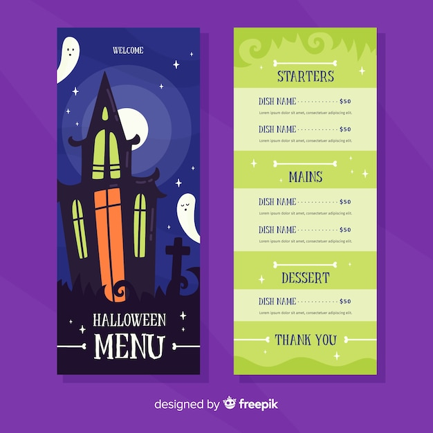 Płaski szablon menu halloween z nawiedzonego domu Darmowych Wektorów
