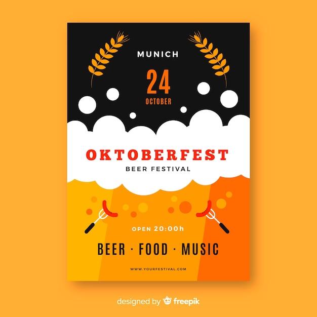 Płaski Szablon Oktoberfest Plakat Szablon Darmowych Wektorów