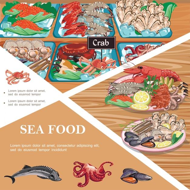 Płaski Szablon Owoców Morza Z Talerzami Owoców Morza Jesiotr Ośmiornica Małże Ryby Kawior Krewetki Ostrygi Kraby Na Blacie Darmowych Wektorów