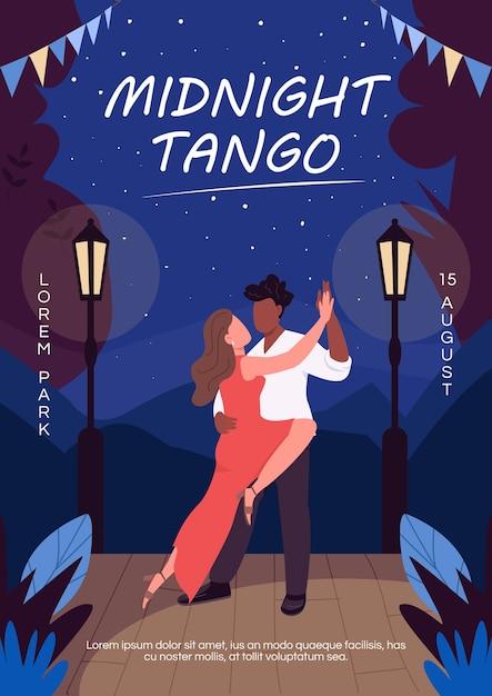 Płaski Szablon Plakatu O Północy Tango. Zabawna Kreatywna Randka Dla Pary Premium Wektorów