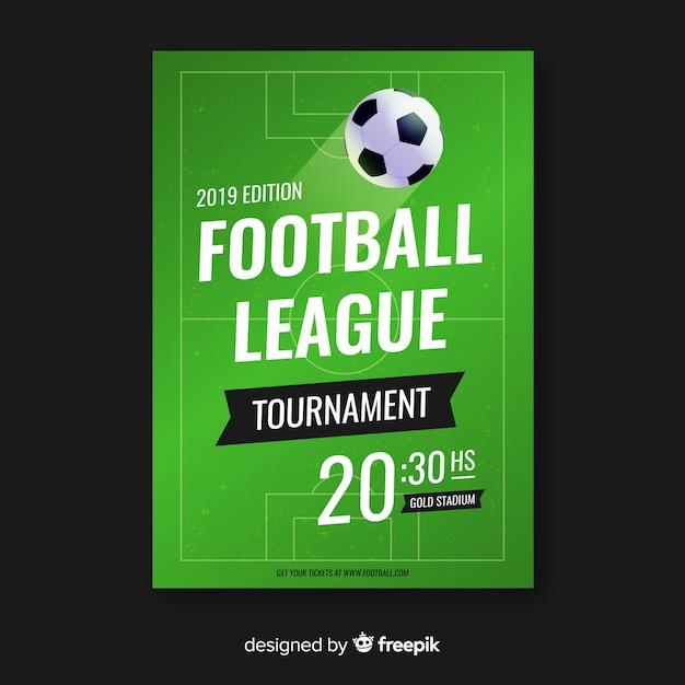 Płaski szablon plakatu piłkarskiego Darmowych Wektorów