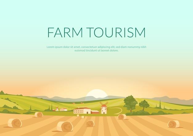 Płaski Szablon Plakatu Turystyki Rolniczej Premium Wektorów