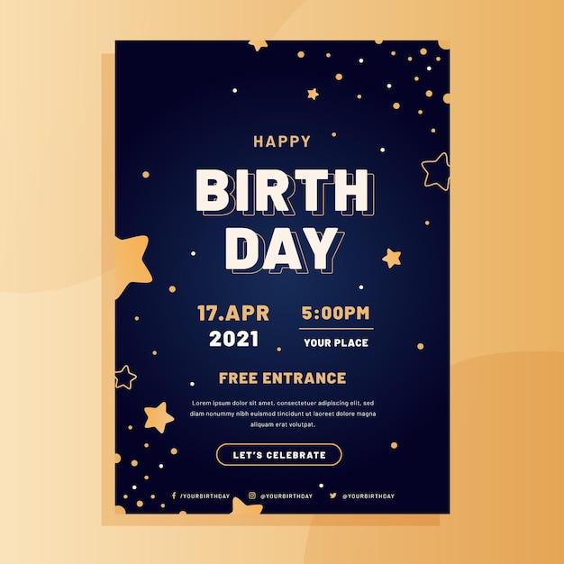 Płaski Szablon Plakatu Urodzinowego Darmowych Wektorów