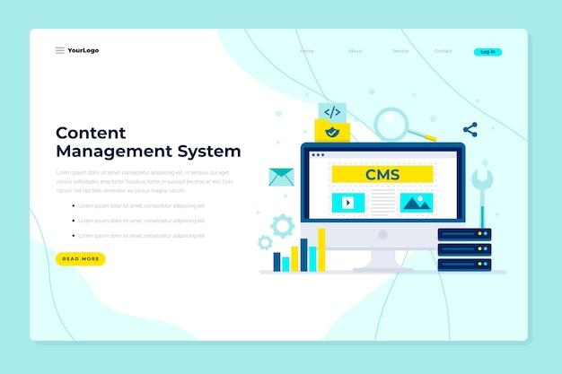 Płaski Szablon Sieci Web Koncepcji Cms Premium Wektorów