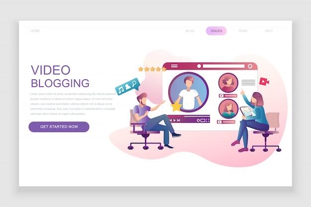 Płaski szablon strony docelowej blogowania wideo Premium Wektorów
