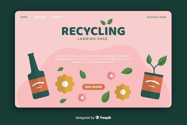 Płaski Szablon Strony Docelowej Recyklingu Darmowych Wektorów