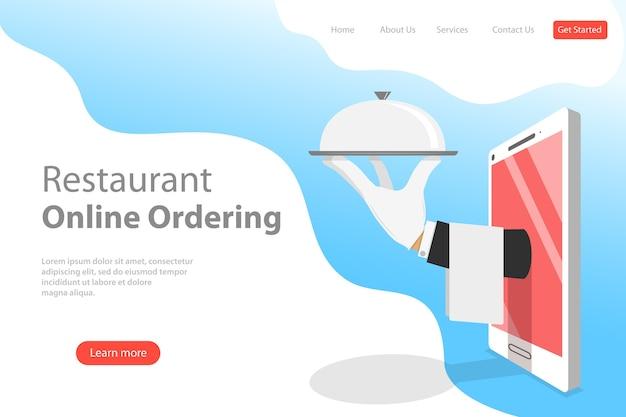 Płaski Szablon Strony Docelowej Rezerwacji Online Stolika, Rezerwacji Mobilnej, Zamawiania I Dostawy Jedzenia. Premium Wektorów