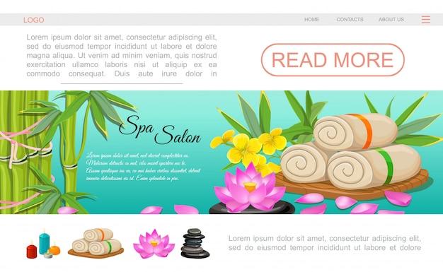 Płaski Szablon Strony Docelowej Salonu Spa Z Ręcznikami Kwiat Lotosu Bambusowe świece Zapachowe Kamienie Darmowych Wektorów