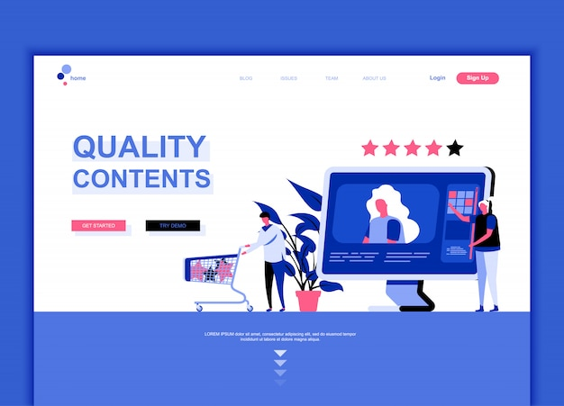Płaski szablon strony docelowej treści wysokiej jakości Premium Wektorów