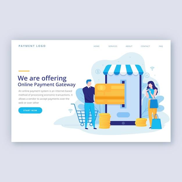 Płaski szablon strony docelowej zakupy online Premium Wektorów