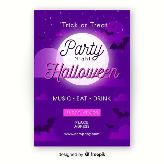 Płaski Szablon Ulotki Halloween Party Darmowych Wektorów