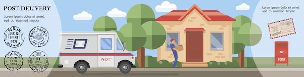 Płaski Szablon Usługi Pocztowej Z Listonoszem Dostarczającym Paczkę Do Skrzynki Pocztowej Klienta I Znaczków Pocztowych Darmowych Wektorów