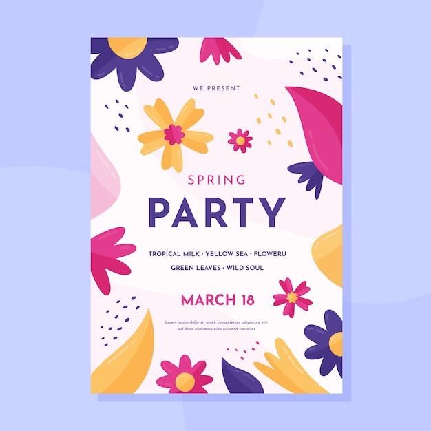 Płaski Szablon Wiosna Party Plakat Szablon Darmowych Wektorów