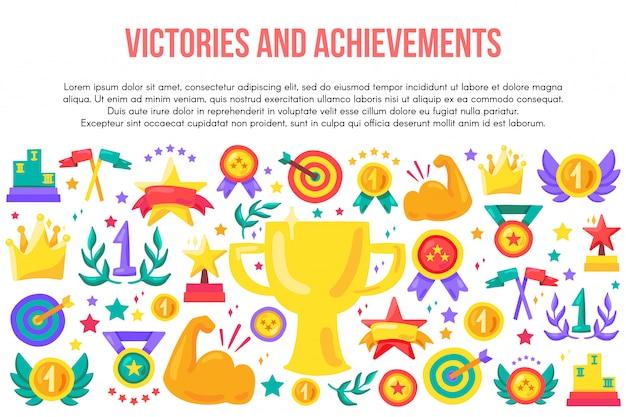 Płaski szablon zwycięstw i osiągnięć Premium Wektorów