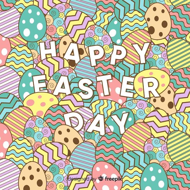 Płaski Szczęśliwy Easter Dnia Tło Darmowych Wektorów