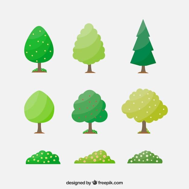 Płaski Sztuk Drzew I Krzewów Darmowych Wektorów