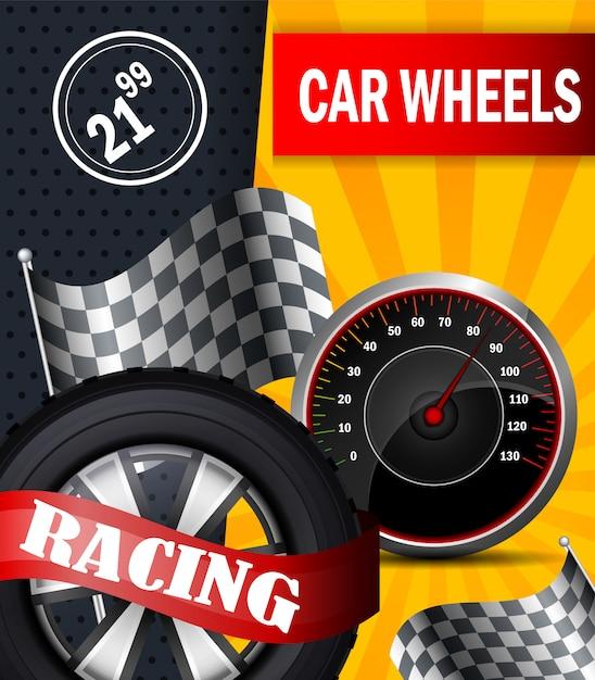 Płaski transparent wektor samochód koła wyścigowe broszury ulotki Premium Wektorów