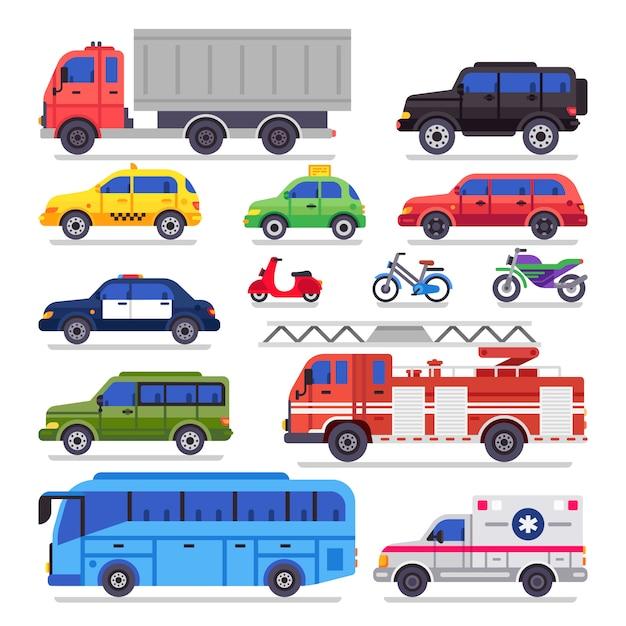 Płaski transport samochodowy Premium Wektorów