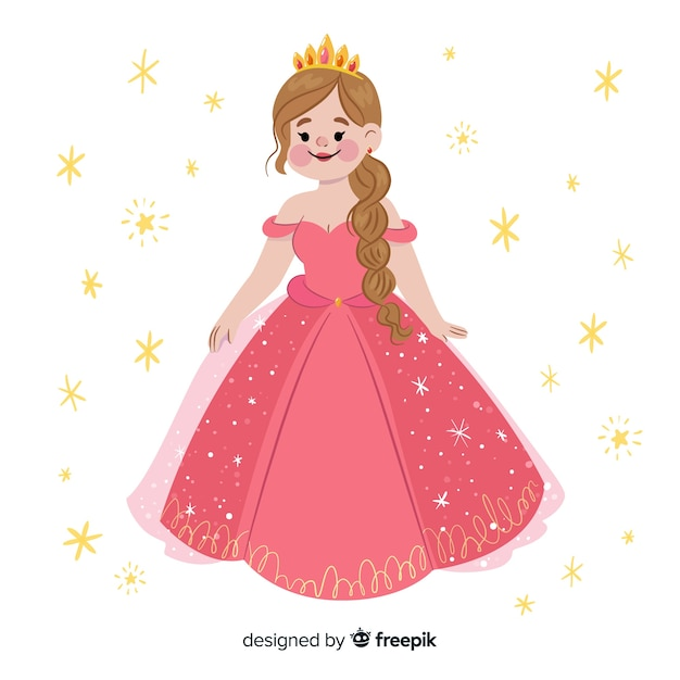 Płaski Uśmiechnięty Portret Księżniczki Darmowych Wektorów