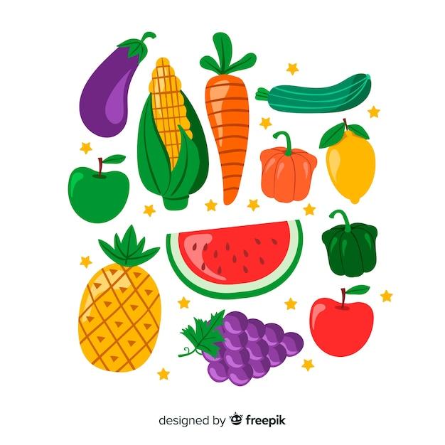 Płaski warzywo i owoc tło Darmowych Wektorów