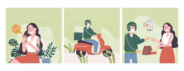 Płaski Wektor Ilustracja Kreskówka Długie Włosy Postać Kobiety Zamówić Jedzenie Online Przez Telefon Komórkowy. Premium Wektorów