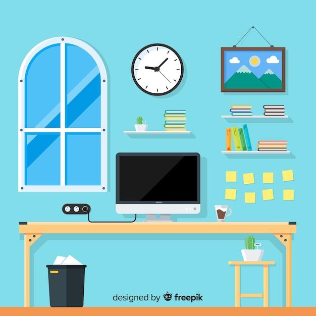 Płaski Workspace Pojęcie Z Biurkiem I Krzesłem Darmowych Wektorów