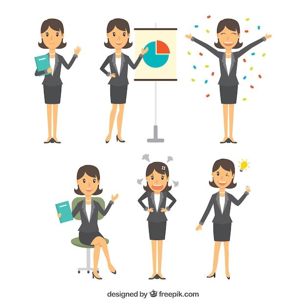 Płaski wybór charakteru bizneswoman z różnych wyrazów twarzy Darmowych Wektorów