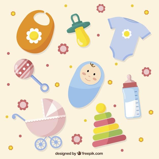 Płaski zbiór kolorowych przedmiotów dla niemowląt Darmowych Wektorów
