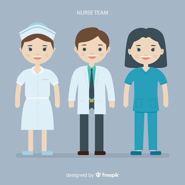 Płaski zespół pielęgniarek Darmowych Wektorów