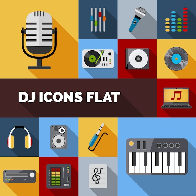 Płaski zestaw dj ikony Darmowych Wektorów