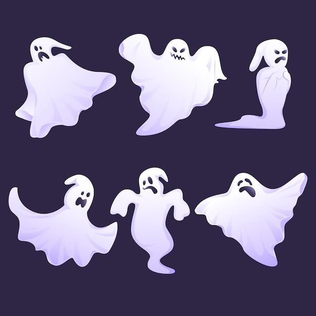 Płaski Zestaw Duchów Halloween Darmowych Wektorów
