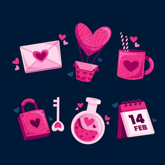 Płaski Zestaw Elementów Walentynki Premium Wektorów