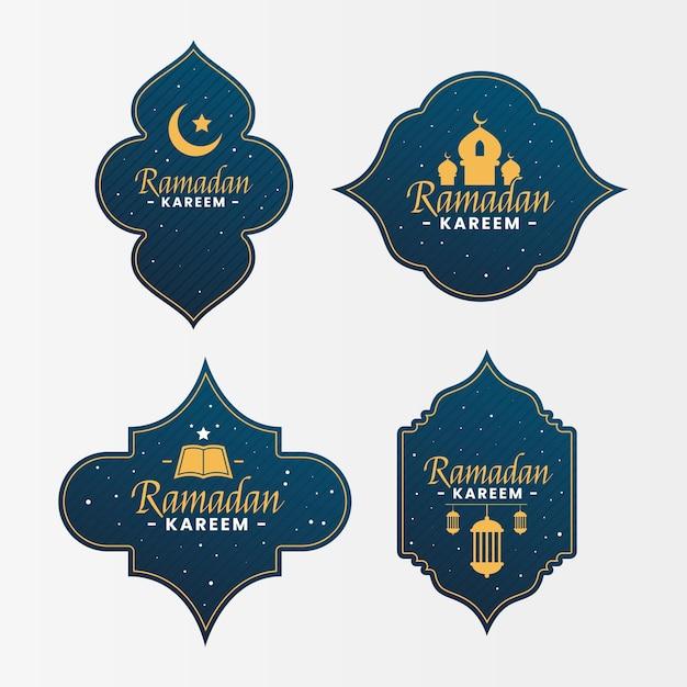 Płaski Zestaw Etykiet Ramadan Darmowych Wektorów