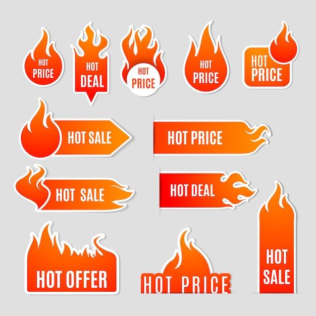 Płaski zestaw etykiet sprzedaży ognia Darmowych Wektorów