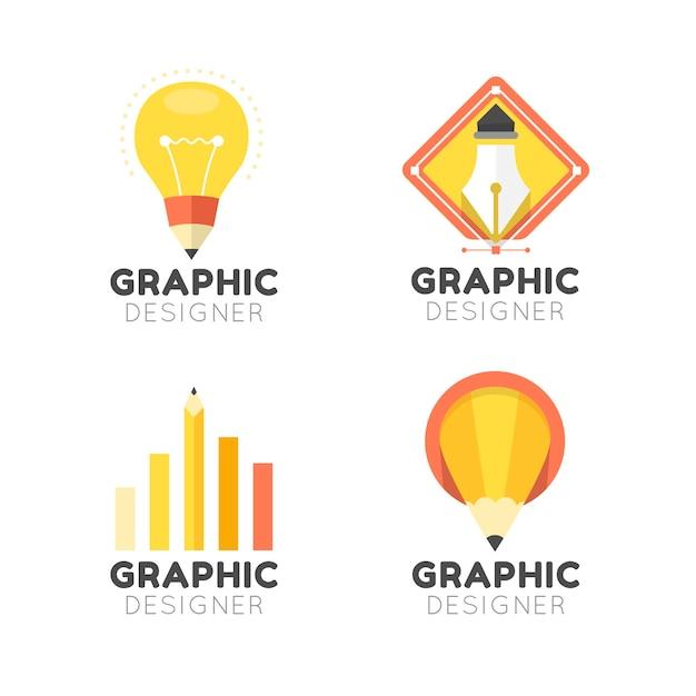 Płaski Zestaw Logo Projektanta Graficznego Darmowych Wektorów