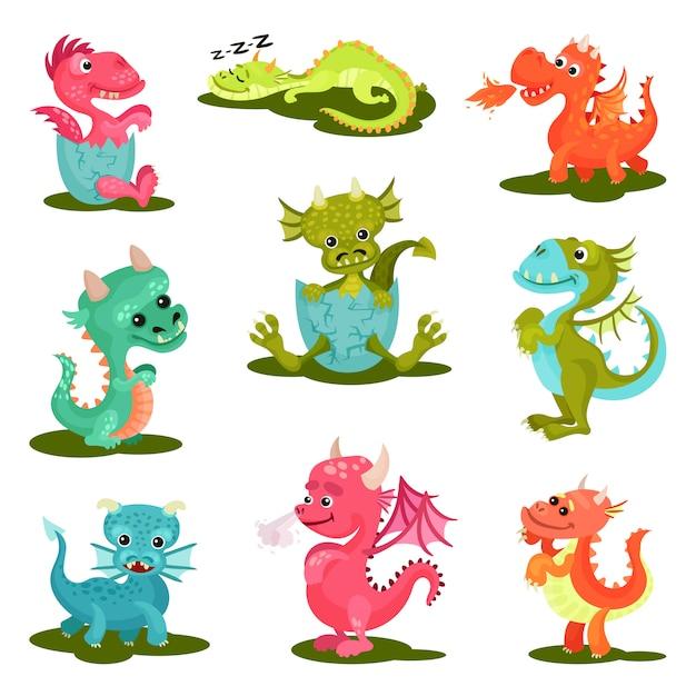 Płaski Zestaw ślicznych Smoków Dla Dzieci. Stworzenia Mityczne. Fantastyczne Zwierzęta Ze Skrzydłami, Rogami I Długimi Ogonami Premium Wektorów