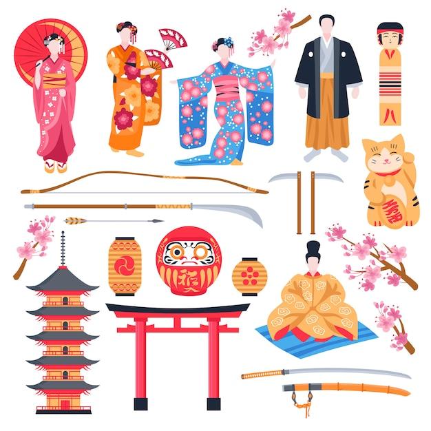 Płaski Zestaw Starożytnej Japonii Darmowych Wektorów