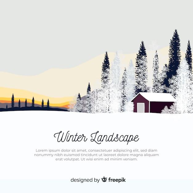 Płaski zimowy krajobraz tło Darmowych Wektorów