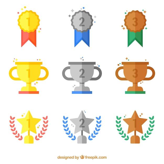 Płaski złote i srebrne nagrody kolekcji Darmowych Wektorów