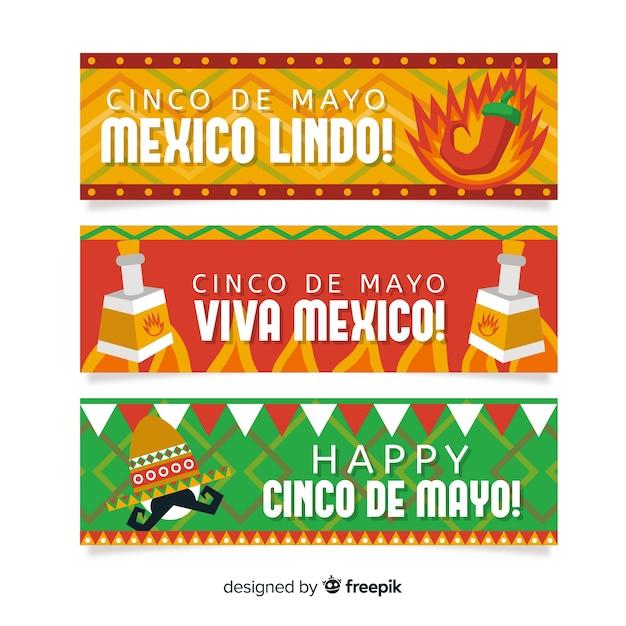 Płaskie Banery Cinco De Mayo Darmowych Wektorów